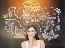 Girl in white top and business icons on chalkboard Stock Photos