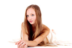 Girl with white towel Stock Photos