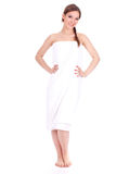 Girl in white towel Stock Photography