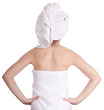 Girl in white towel Royalty Free Stock Image