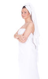 Girl in white towel Royalty Free Stock Photo