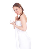 Girl in white towel keeping silent Royalty Free Stock Photos