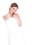 Girl in white towel, thumb up Royalty Free Stock Photography