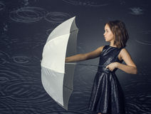 Girl with white umbrella Royalty Free Stock Images