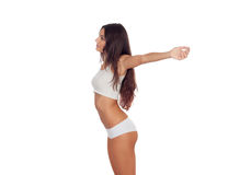 Girl in white underwear with her arms extended Royalty Free Stock Photos