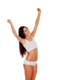 Girl in white underwear with her arms extended Royalty Free Stock Image