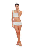 Girl in white underwear Royalty Free Stock Photography