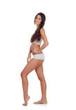 Girl in white underwear with long hair Stock Photography