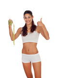 Girl in white underwear with a tape measure around her waist say Royalty Free Stock Images