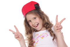 Girl white V sign over white Royalty Free Stock Image