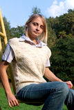 Girl in white waistcoat Royalty Free Stock Image