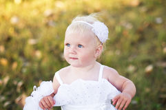 Girl in a white wedding dress on the grass Royalty Free Stock Photography