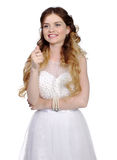 Girl in white wedding dress, make thumbs up Royalty Free Stock Photos