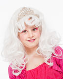 Girl in White Wig and Diadem Posing as Princess Royalty Free Stock Photography