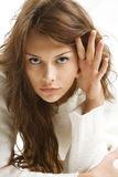 Girl in white wool sweater Royalty Free Stock Images