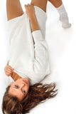 Girl in white wool sweater Stock Images