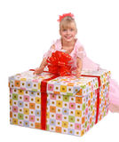 Girl whith a big gift box. Stock Photography