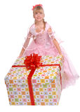 Girl whith big gift box. Isolated Stock Photos