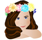 Girl whith flowers. Illustration of a girl with flowers in the hair Stock Photography