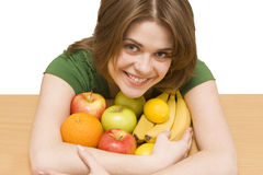 Girl whith  fruit Stock Image