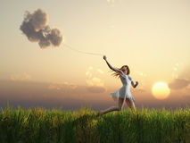 Girl who catches clouds Royalty Free Stock Photo