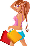 The girl who is engaged in shopping Stock Photography