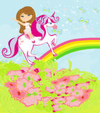 The girl who goes on the sky on a winged unicorn Stock Image