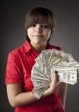 Girl who has a lot of money Stock Photos