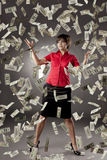 Girl who has a lot of money Stock Image
