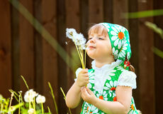 Girl who is holding a dandelion Stock Photo
