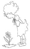 Girl who looks a flower. Illustration black and white which is a little girl intent to take a flower Royalty Free Stock Image