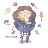 The girl who loves ice cream. Stock Images