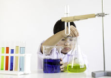 A girl who is passionate about science and experiment.  Stock Images