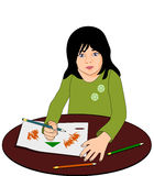 Girl who sketches. A girl sitting at a table and drawing vector illustration