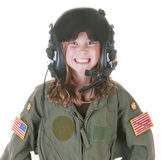 Girl who wants to be an aviator Royalty Free Stock Photos