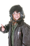 Girl who wants to be an aviator Stock Photography