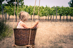 Girl in wicker basket Royalty Free Stock Photography