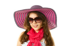 Girl in wide-hat Royalty Free Stock Photo