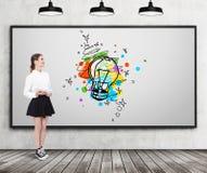 Girl in wide skirt near light bulb sketch Stock Image
