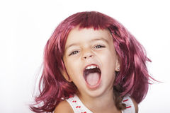 Girl and wig Stock Image