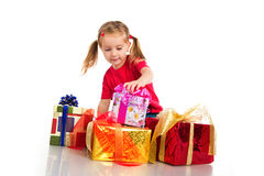Girl wih the boxes of gifts Royalty Free Stock Image