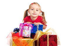 Girl wih the presents Royalty Free Stock Images