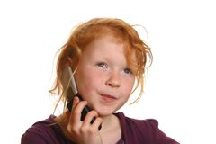 Girl wiht cell phone Stock Photo