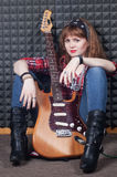 Girl wiht guitar Royalty Free Stock Photography