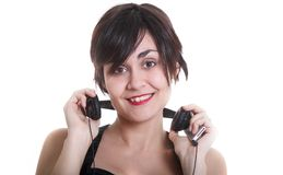 Girl wiht headphones Stock Photography