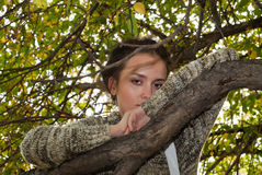 Girl and wild apple tree Stock Photo