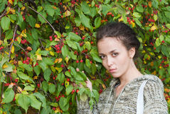 Girl and wild apple tree Stock Image