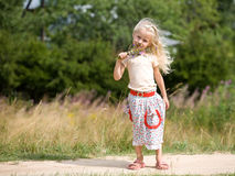 Girl with wild flowers. Little blonde girl on a park walk with a bunch of wild flowers royalty free stock photo