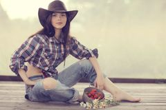 Girl in wild west style stock photos