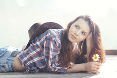 Girl in wild west style Royalty Free Stock Images